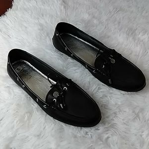 Sperry black leather topsiders 8